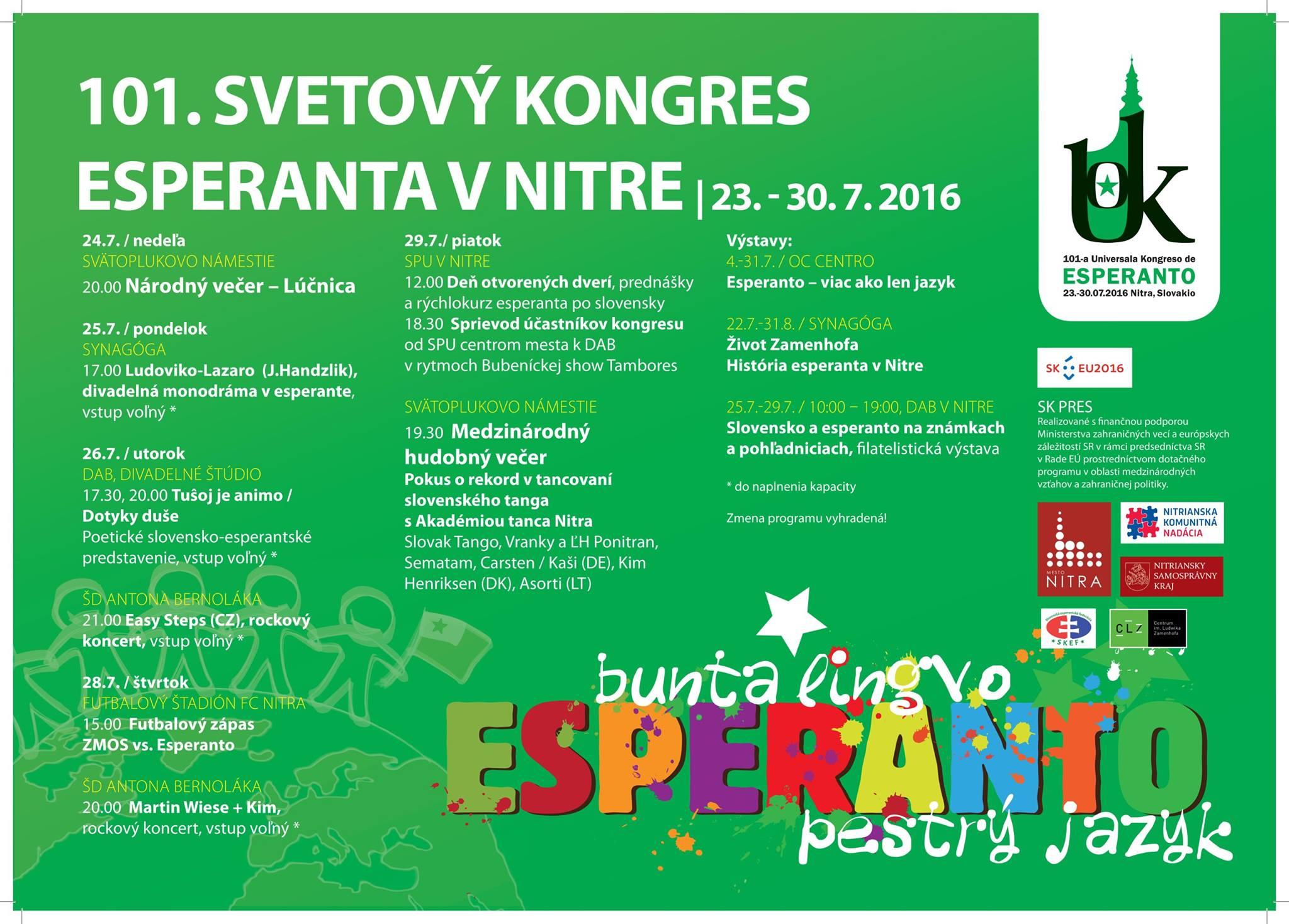 4c38ba7bc 101. Svetový kongres esperanta - pozvánka n - Kam v meste | moja Nitra